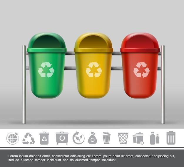 Afval- en afvalconcept met realistische kleurrijke prullenbakken voor verschillende afvalproducten en zwart-wit vuilnispictogrammen