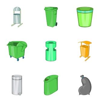 Afval iconen set, cartoon stijl