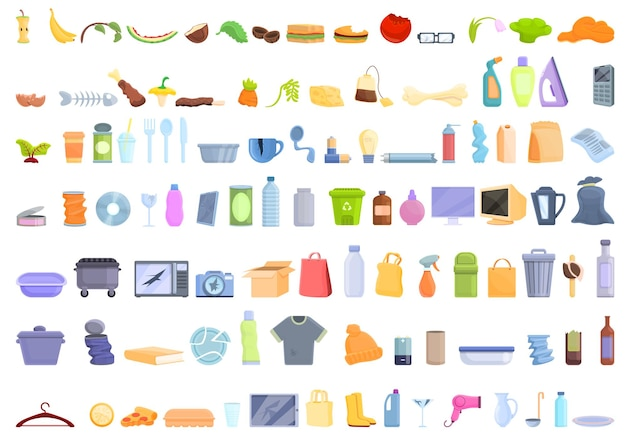 Afval pictogrammen instellen. cartoon set van afval iconen voor webdesign