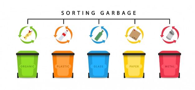 Afval recyclen. afval sorteren. afval sorteren. vlakke stijl.