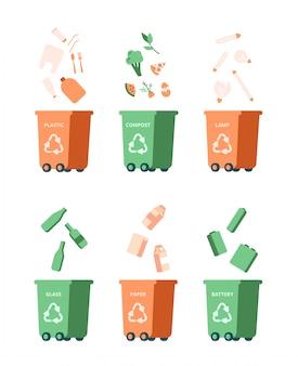 Afval recycling management concept met verschillende vuilnis. vector