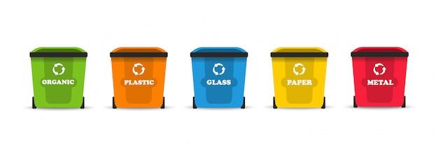 Afval sorteren. afval sorteren. voor organisch, voor plastic, voor glas, voor metaal en voor papier.