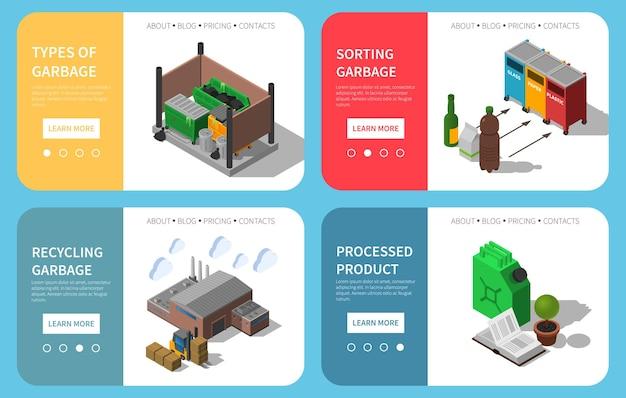 Afval sorteren bakken vuilnis verzamelen recycling verwerking info website sjabloon geïsoleerd