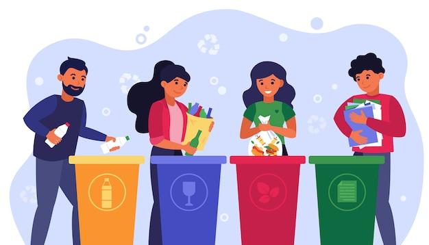 Afval sorteren concept
