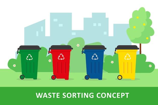 Afval sorteren en recyclen concept