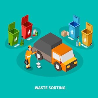 Afval sorteren isometrische samenstelling