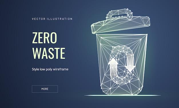 Afval verminderen bestemmingspagina sjabloon voor laag poly draadframe
