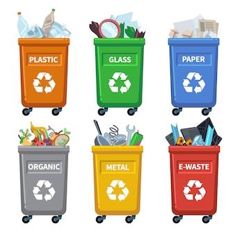 Afvalbak categorieën. prullenbak recyclen, afvalcontainers scheiden. organisch papier plastic glas metaal gemengd afval vector grafiek