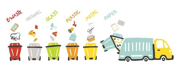 Afvalbeheer concept voor kinderen. ecologie thema. leren voor peuters. scheiding van afval op gekleurde vuilnisbakken en vuilniswagen. kleurrijke illustratie in kinderachtig handgetekende cartoon stijl