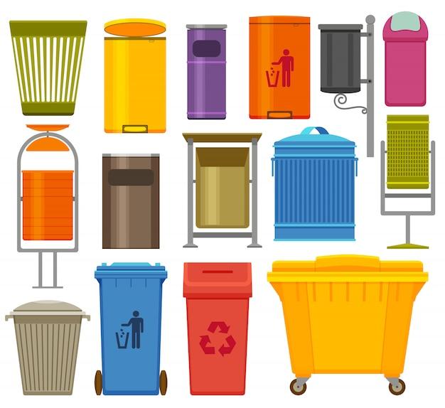 Afvalcontainers kleurrijke pictogrammen instellen. illustratie