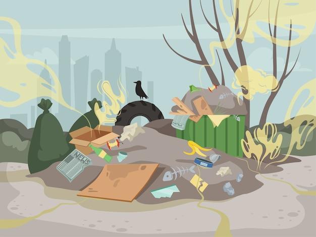 Afvalgeur. giftige rommel berg vuilnis slechte omgeving dump geur wolken vector. illustratie stortplaats vuil probleem, industrie chaos onzin