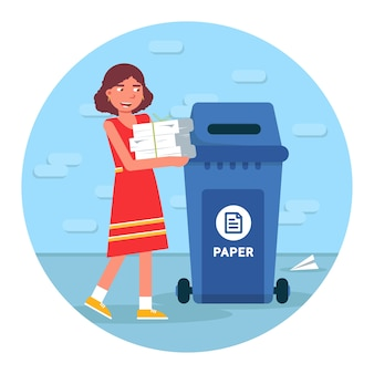 Afvalrecycling illustratie, afval sorteren ronde clipart op witte achtergrond. jong meisje papier aanbrengend vuilnisbak stripfiguur, materiaal hergebruik element
