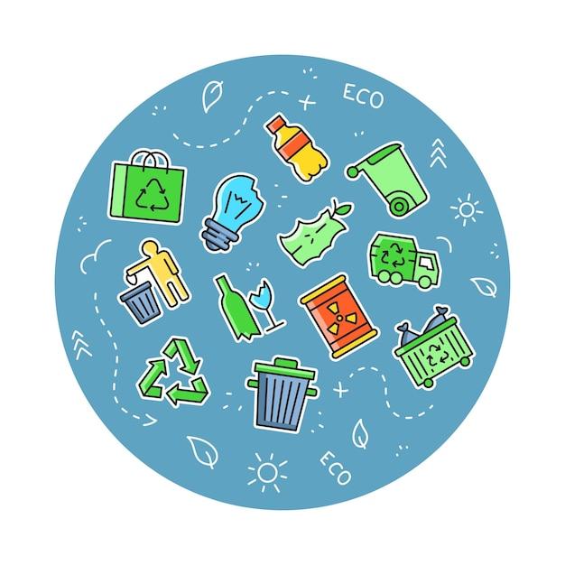 Afvalrecycling - pictogrammen instellen. eenvoudige eco-symbolen.