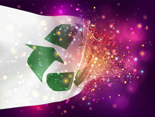 Afvalrecycling vector 3d vlag op roze paarse achtergrond met verlichting en fakkels