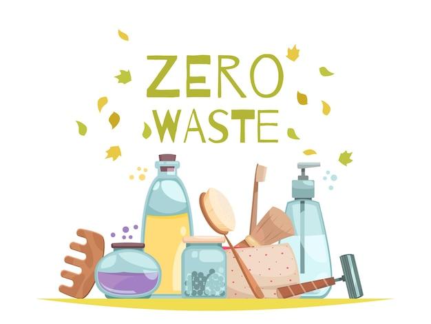Afvalsorteerconcept met platte nul-afvalsymbolen