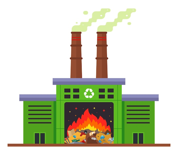 Afvalverbrandingsinstallatie en uitstoot van schadelijke stoffen in de atmosfeer. vlakke afbeelding