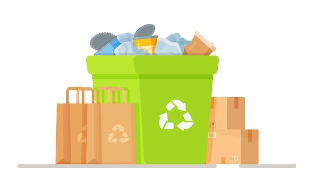 Afvalverwijdering. decontaminatie van industrieel afval. ongeautoriseerde stortplaatsen. illustratie van de impact op het milieu.