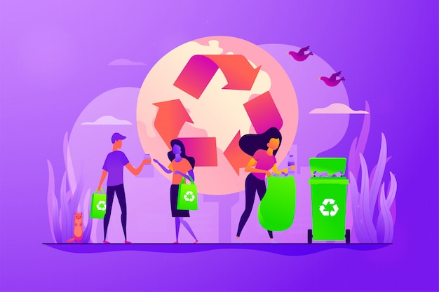 Afvalvrij, nul afval technologie concept vectorillustratie.