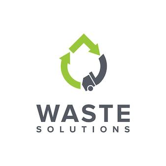 Afvalwagen en pijl eenvoudig strak creatief geometrisch modern logo-ontwerp
