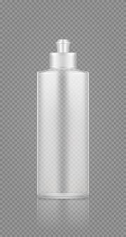Afwasmiddel spoelmachine lege transparante plastic fles mockup met dop