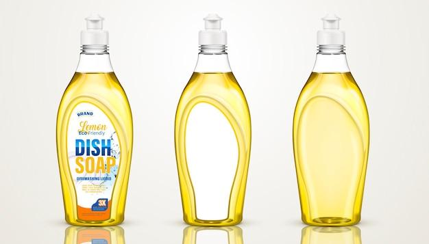 Afwasmiddelcontainerontwerp, afwasmiddelflessen in 3d illustratie, sommige met etiketten sommige zonder