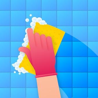 Afwassen, afwassen. afwasmiddel, borden en gele spons. vector voorraad illustratie.