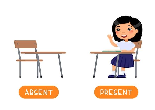 Afwezig en aanwezig antoniemen woordkaart flashcard voor engels leren tegenstellingen concept