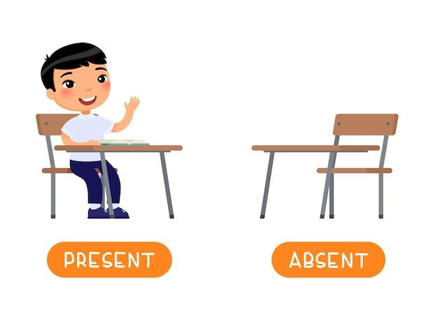 Afwezig en aanwezig antoniemen woordkaart illustratie