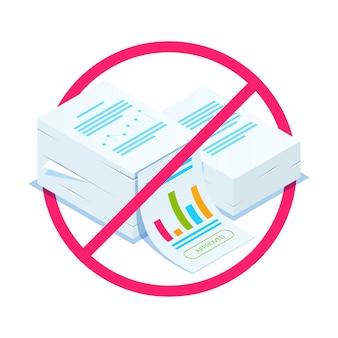 Afwijzing van documenten. isometrische stapel documenten