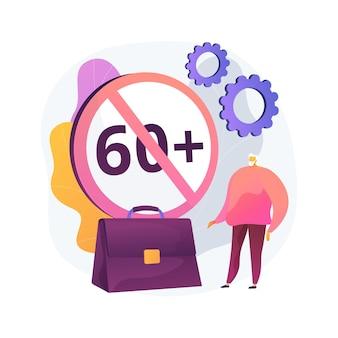 Ageism sociaal probleem abstract concept vector illustratie. stop leeftijdsdiscriminatie, arbeidsmoeilijkheden bij ouderen, discriminatie op het werk, ouderen, negatieve stereotype abstracte metafoor.