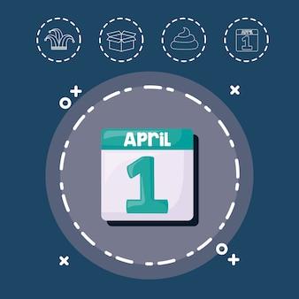 Agenda en aprils dwazen dag gerelateerde pictogrammen