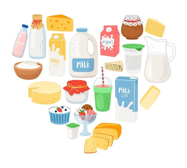 Agenda producten in hartvorm illustratie