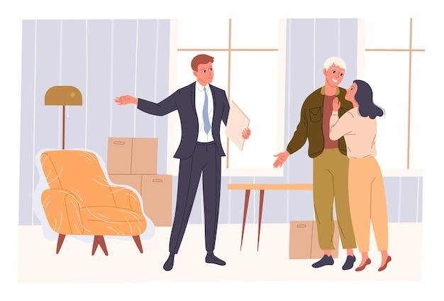 Agent ontmoet en laat nieuwkomers zien in hun nieuwe huis