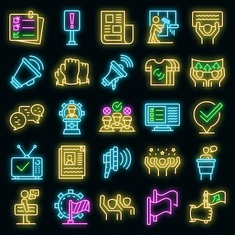 Agitatie pictogrammen instellen vector neon