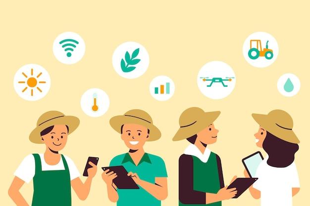 Agrarische coöperatieve vector slimme landbouwachtergrond