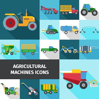Agrarische industrie icons set