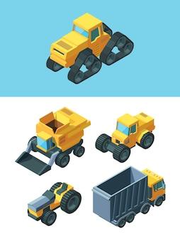 Agrarische isometrische machines ingesteld. moderne voertuigen landelijke industrie caterpillar tractor graantruck wielen landbouwtractor zaaimachine machine harvester agro teelt.