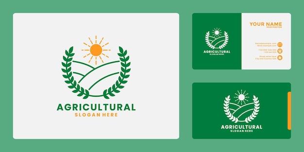 Agrarische landbouw kant land logo ontwerp vector badge