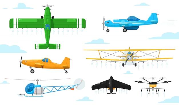 Agrarische luchtvaart. gewas stofdoek vliegtuigen spuiten chemicaliën set. vliegtuig, tweedekker, eendekker, helikopter, drone sproeien pesticiden landbouw luchtvaart collectie