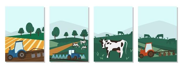 Agrarische visitekaartjes. koeien landbouw op groene weide landbouw bedrijfsconcept. kalveren die vers kruid eten. landelijke dieren veld vectorillustratie. vee veehouder industrie banner.