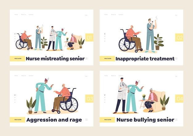 Agressie en pesten door verpleegkundigen in de set met bestemmingspagina's van ziekenhuizen
