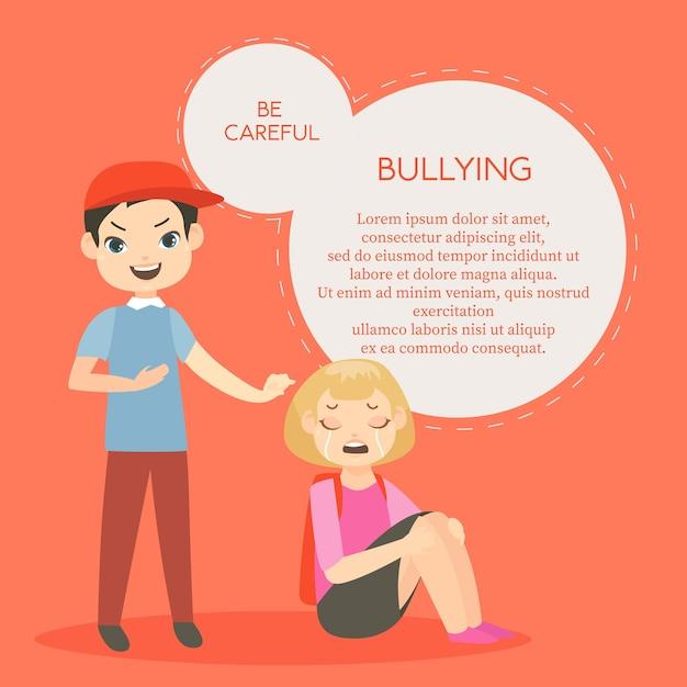 Agressieve conflicten tussen schoolkinderen. feminisme, schoolkinderen, jongen en huilend meisje