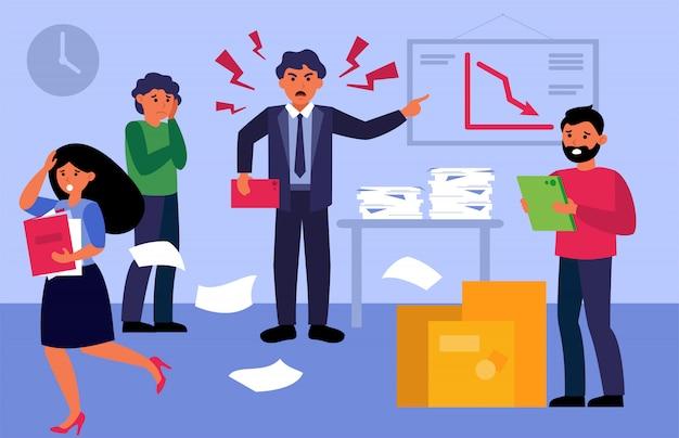 Agressieve nerveuze baas die schreeuwt tegen overstuur werknemers