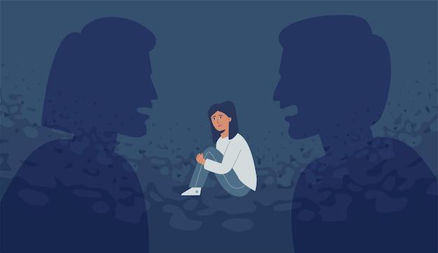 Agressieve ouders schreeuwen tegen elkaar, het kind is geïntimideerd en depressief.