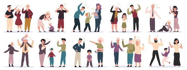 Agressieve ouders. vechten tegen moeder en vader die tegen kinderen schreeuwen, huiselijk geweld