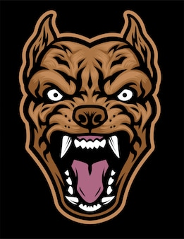 Agressieve pitbull hondenkop