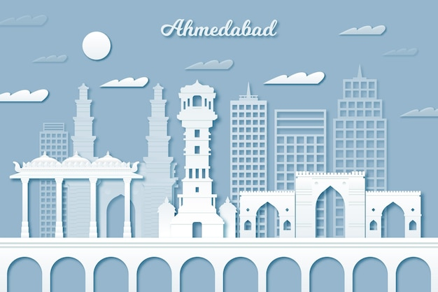 Ahmedabad skyline in papieren stijl