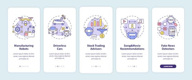 Ai-applicatie 2 onboarding mobiele app-paginascherm met concepten