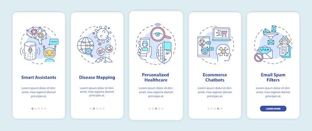 Ai-applicatie onboarding mobiele app-paginascherm met concepten