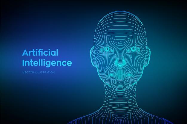 Ai. artefactiële intelligentie concept. abstract wireframe digitaal menselijk gezicht in robotachtige digitale computerinterpretatie.